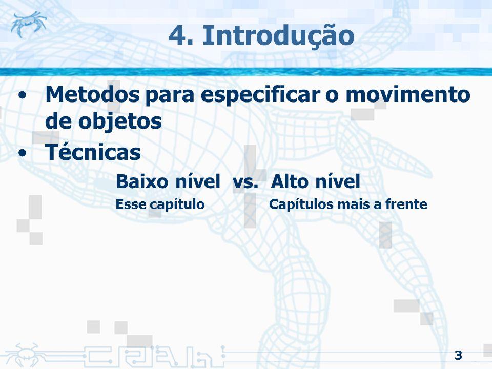 4. Introdução Metodos para especificar o movimento de objetos Técnicas