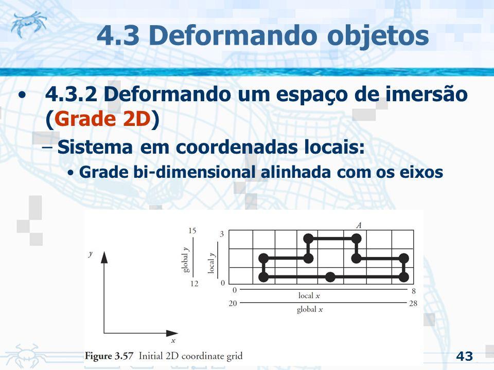 4.3 Deformando objetos 4.3.2 Deformando um espaço de imersão (Grade 2D) Sistema em coordenadas locais: