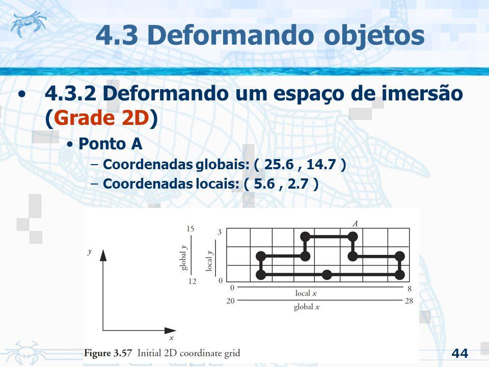 4.3 Deformando objetos 4.3.2 Deformando um espaço de imersão (Grade 2D) Ponto A. Coordenadas globais: ( 25.6 , 14.7 )