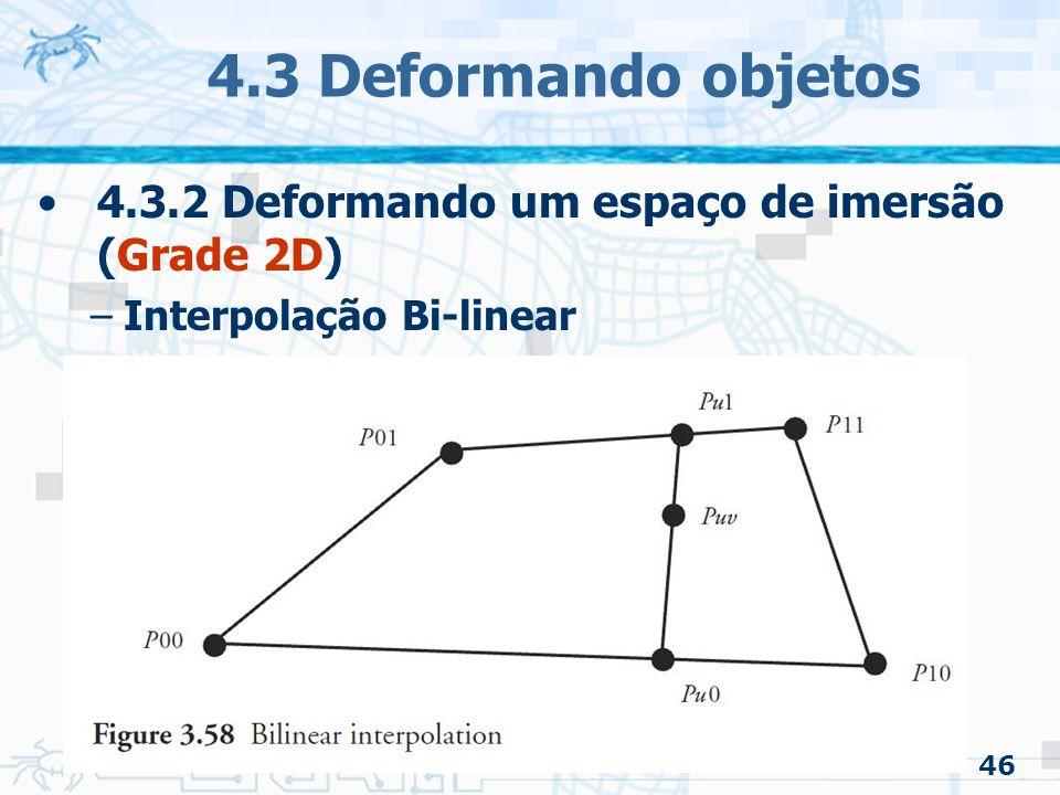 4.3 Deformando objetos 4.3.2 Deformando um espaço de imersão (Grade 2D) Interpolação Bi-linear 46