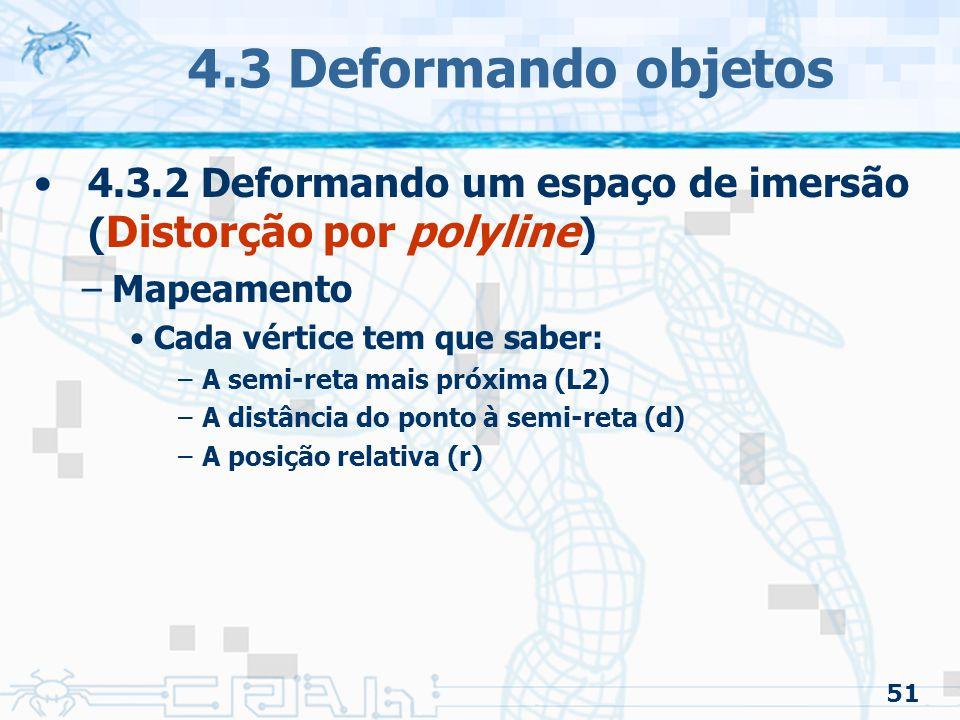 4.3 Deformando objetos 4.3.2 Deformando um espaço de imersão (Distorção por polyline) Mapeamento. Cada vértice tem que saber: