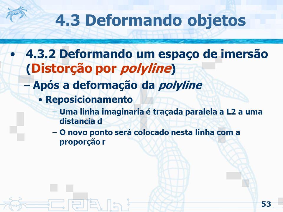 4.3 Deformando objetos 4.3.2 Deformando um espaço de imersão (Distorção por polyline) Após a deformação da polyline.