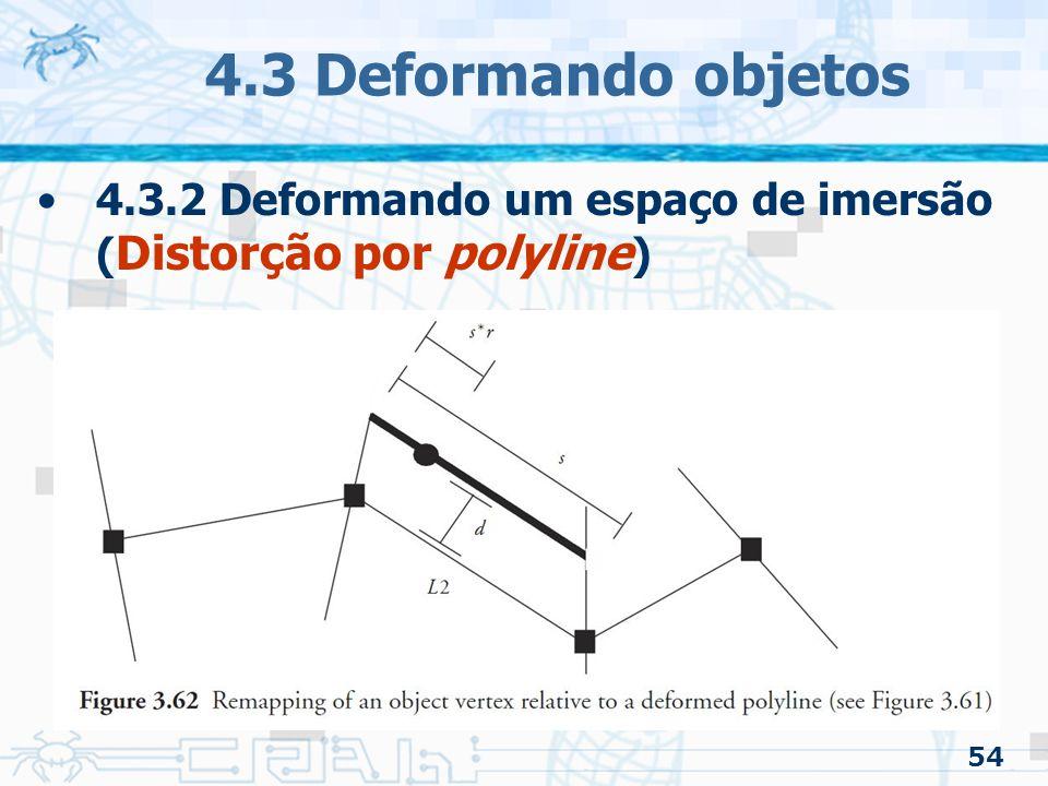4.3 Deformando objetos 4.3.2 Deformando um espaço de imersão (Distorção por polyline) 54