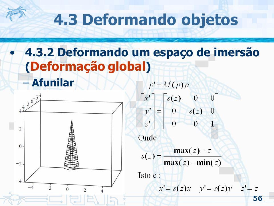 4.3 Deformando objetos 4.3.2 Deformando um espaço de imersão (Deformação global) Afunilar 56