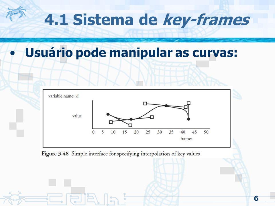 4.1 Sistema de key-frames Usuário pode manipular as curvas: 6