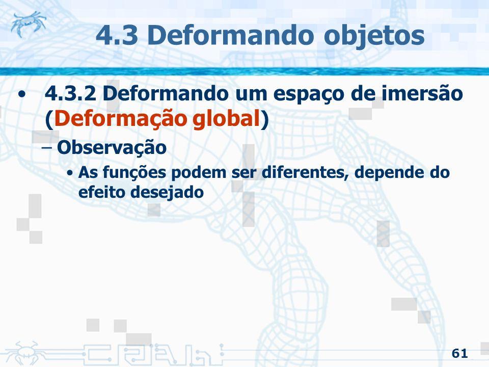4.3 Deformando objetos 4.3.2 Deformando um espaço de imersão (Deformação global) Observação.
