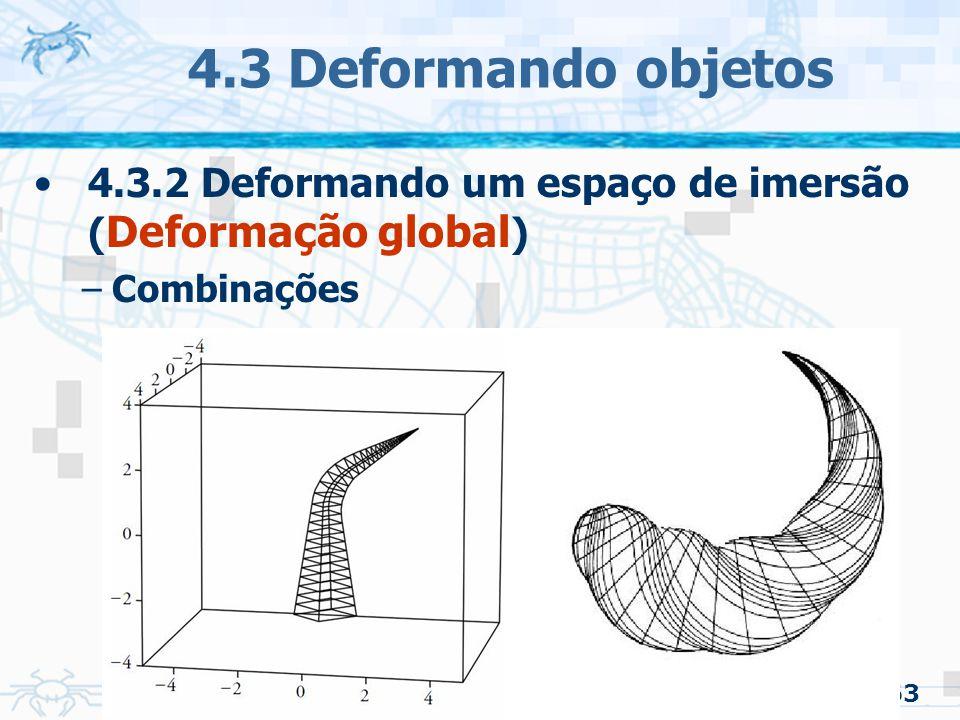 4.3 Deformando objetos 4.3.2 Deformando um espaço de imersão (Deformação global) Combinações 63