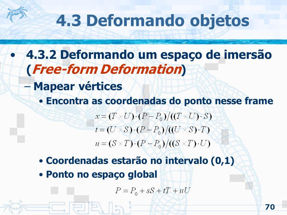 4.3 Deformando objetos 4.3.2 Deformando um espaço de imersão (Free-form Deformation) Mapear vértices.