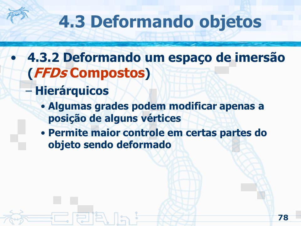 4.3 Deformando objetos 4.3.2 Deformando um espaço de imersão (FFDs Compostos) Hierárquicos.