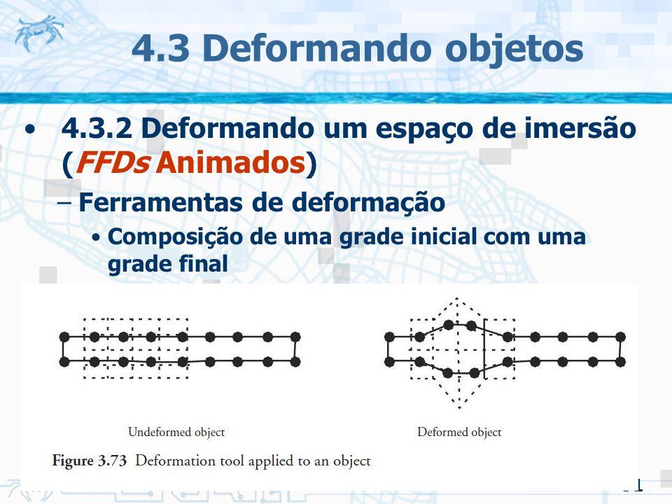 4.3 Deformando objetos 4.3.2 Deformando um espaço de imersão (FFDs Animados) Ferramentas de deformação.