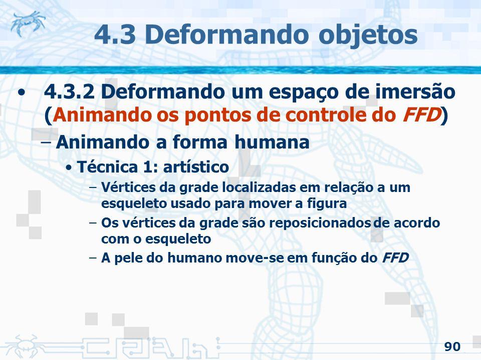 4.3 Deformando objetos 4.3.2 Deformando um espaço de imersão (Animando os pontos de controle do FFD)