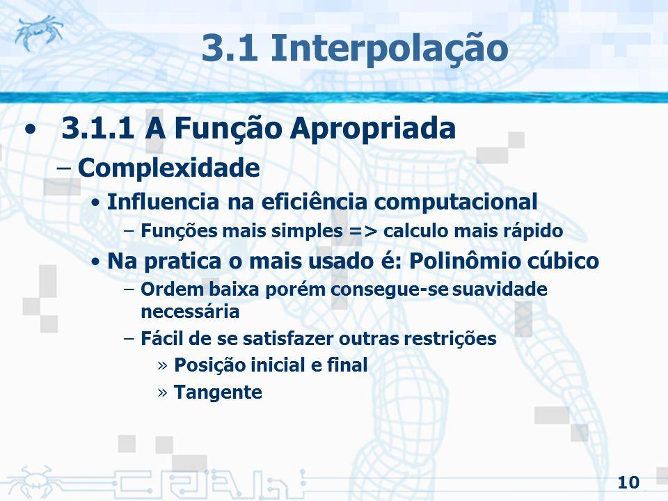 3.1 Interpolação 3.1.1 A Função Apropriada Complexidade