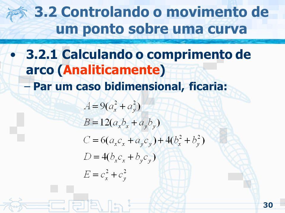 3.2 Controlando o movimento de um ponto sobre uma curva