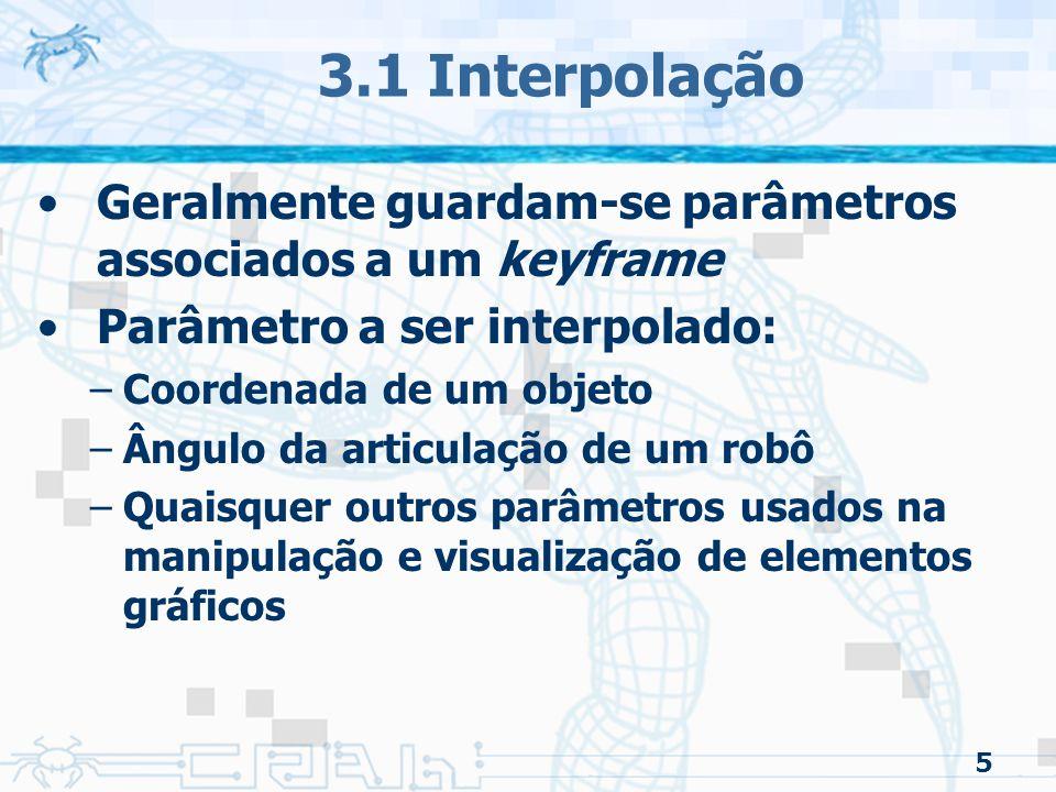 3.1 Interpolação Geralmente guardam-se parâmetros associados a um keyframe. Parâmetro a ser interpolado: