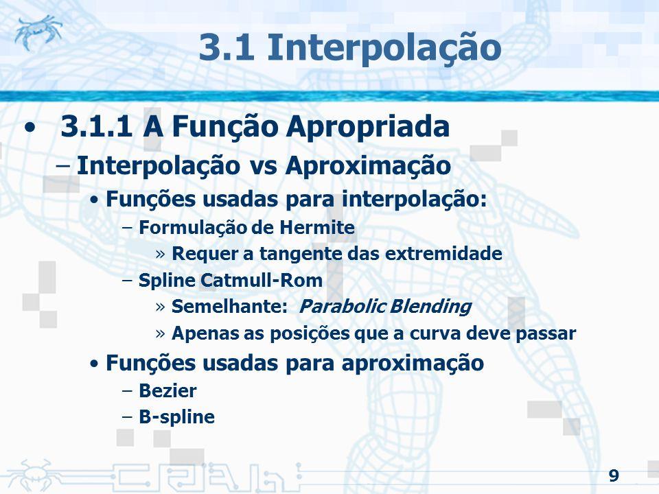 3.1 Interpolação 3.1.1 A Função Apropriada Interpolação vs Aproximação