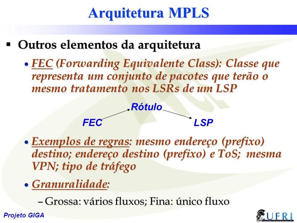 Arquitetura MPLS Outros elementos da arquitetura