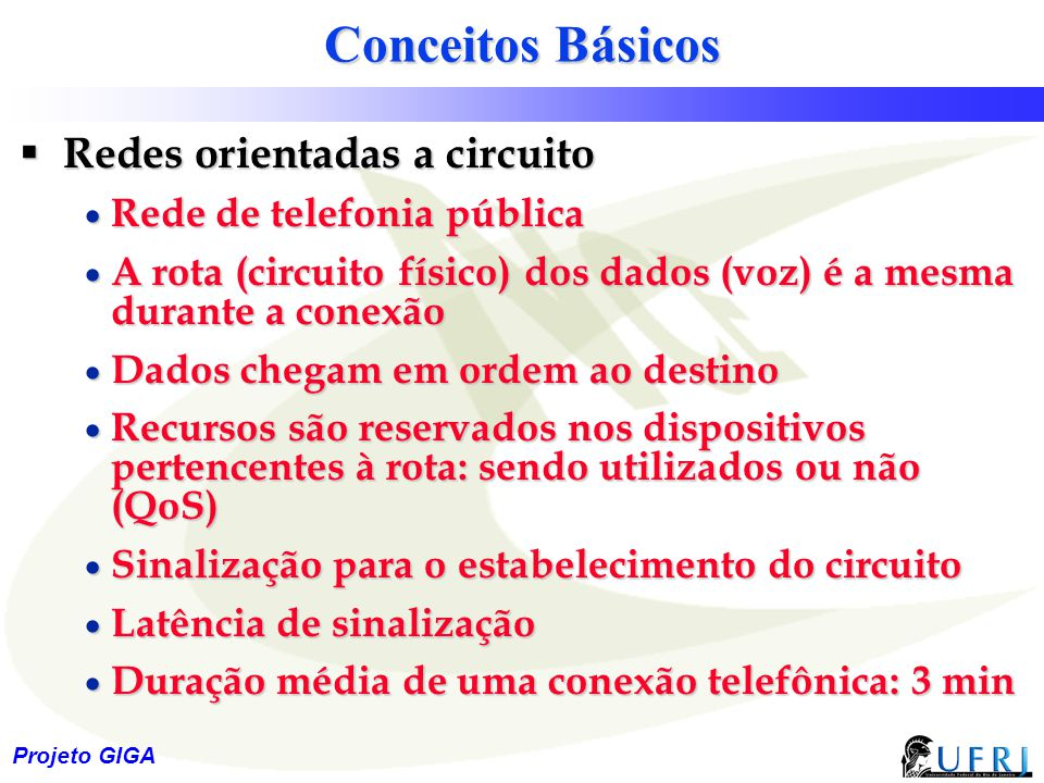 Conceitos Básicos Redes orientadas a circuito