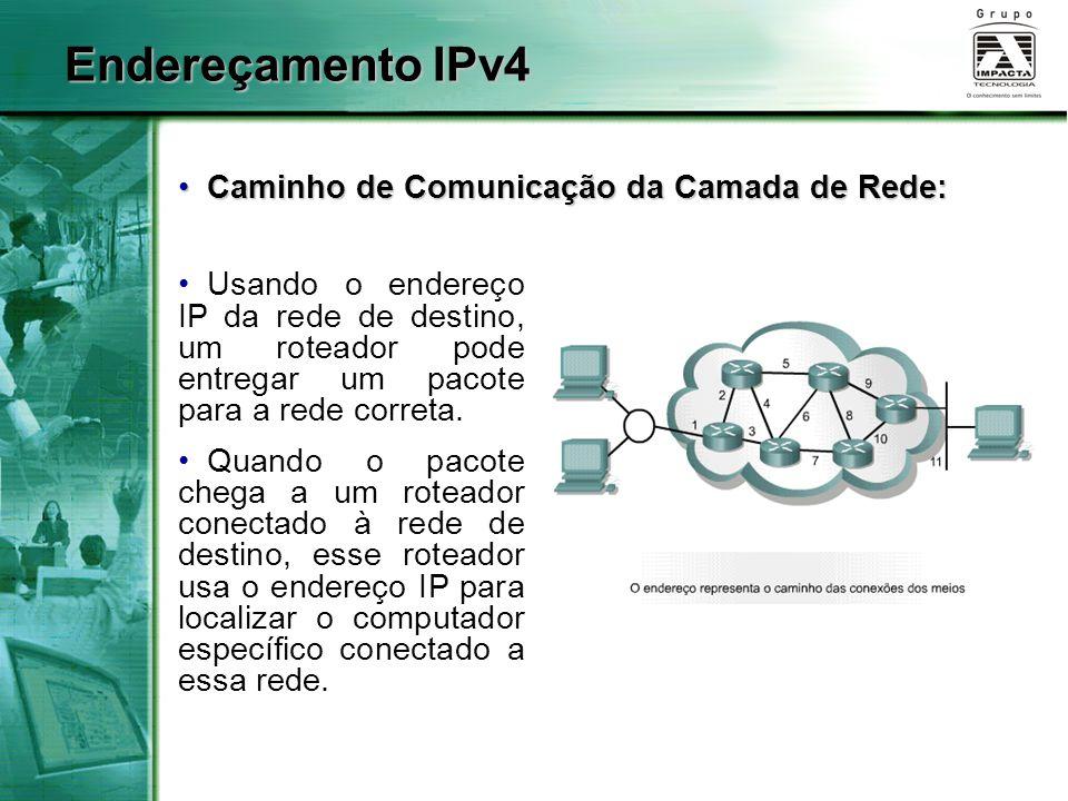 Endereçamento IPv4 Caminho de Comunicação da Camada de Rede: