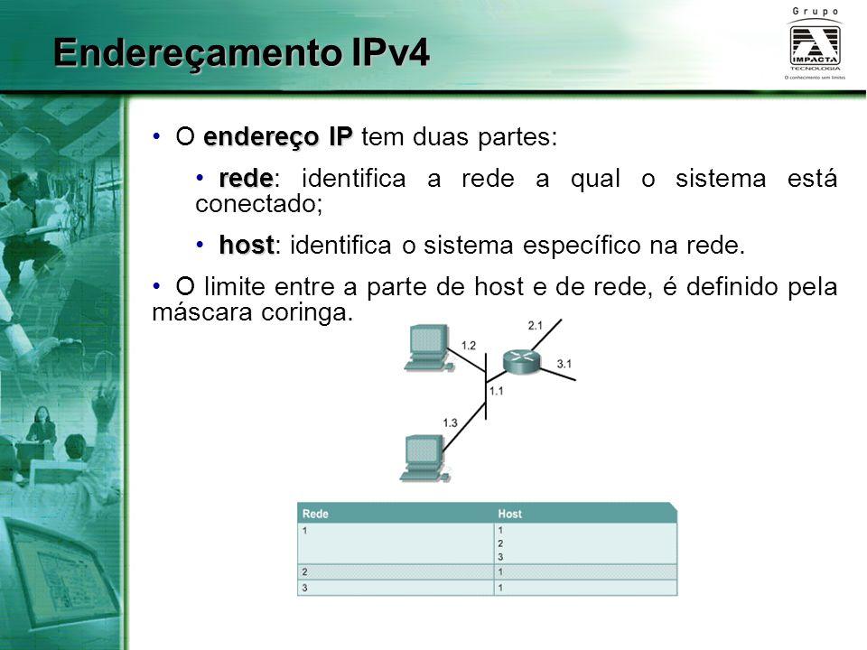 Endereçamento IPv4 O endereço IP tem duas partes: