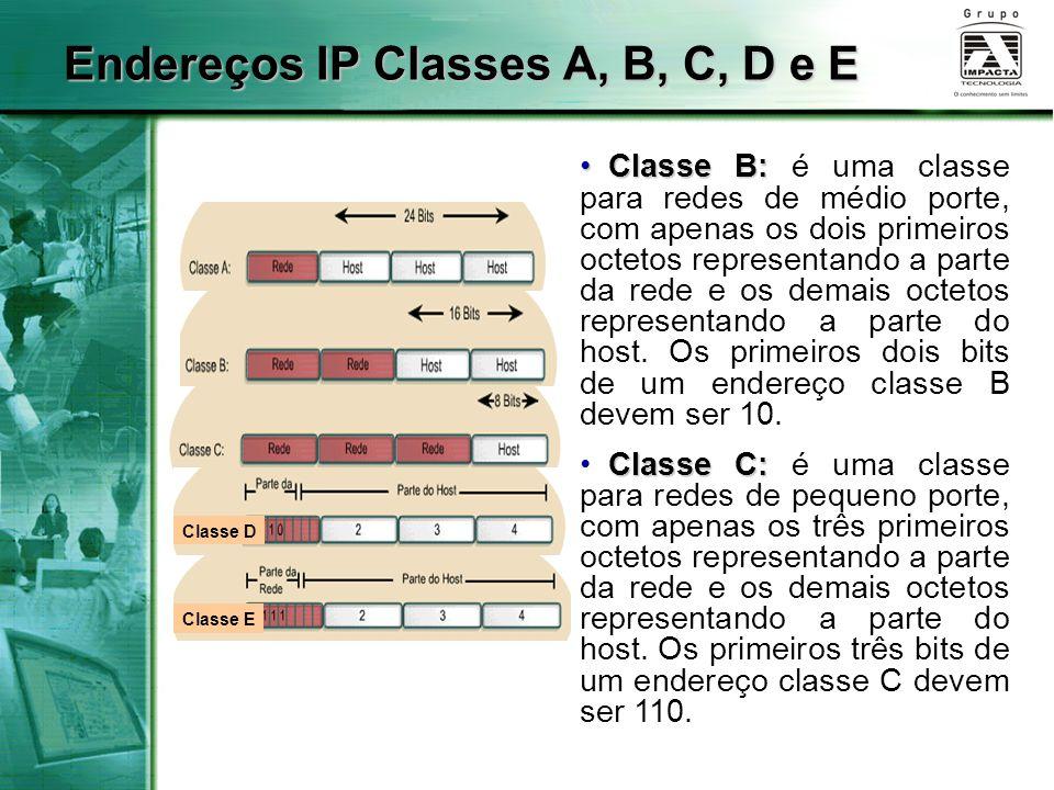 Endereços IP Classes A, B, C, D e E
