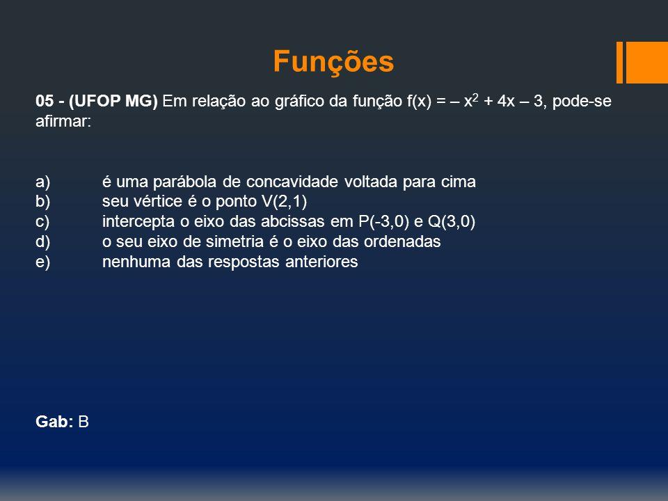 Funções 05 - (UFOP MG) Em relação ao gráfico da função f(x) = – x2 + 4x – 3, pode-se afirmar: a) é uma parábola de concavidade voltada para cima.