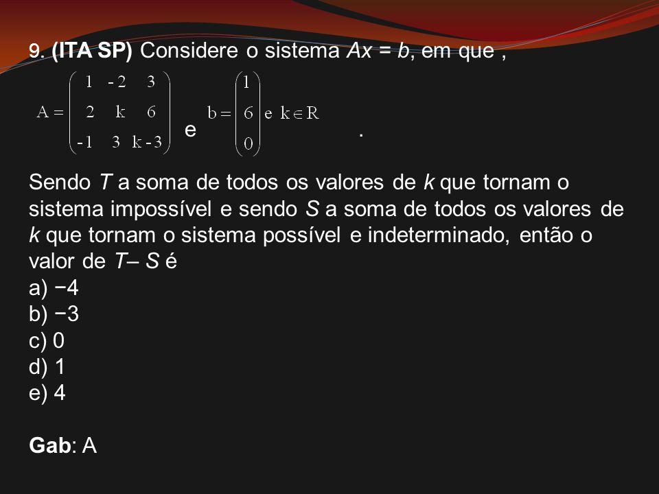 9. (ITA SP) Considere o sistema Ax = b, em que ,