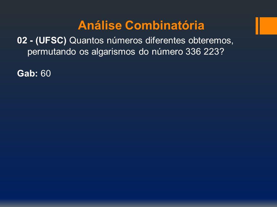 Análise Combinatória 02 - (UFSC) Quantos números diferentes obteremos, permutando os algarismos do número 336 223