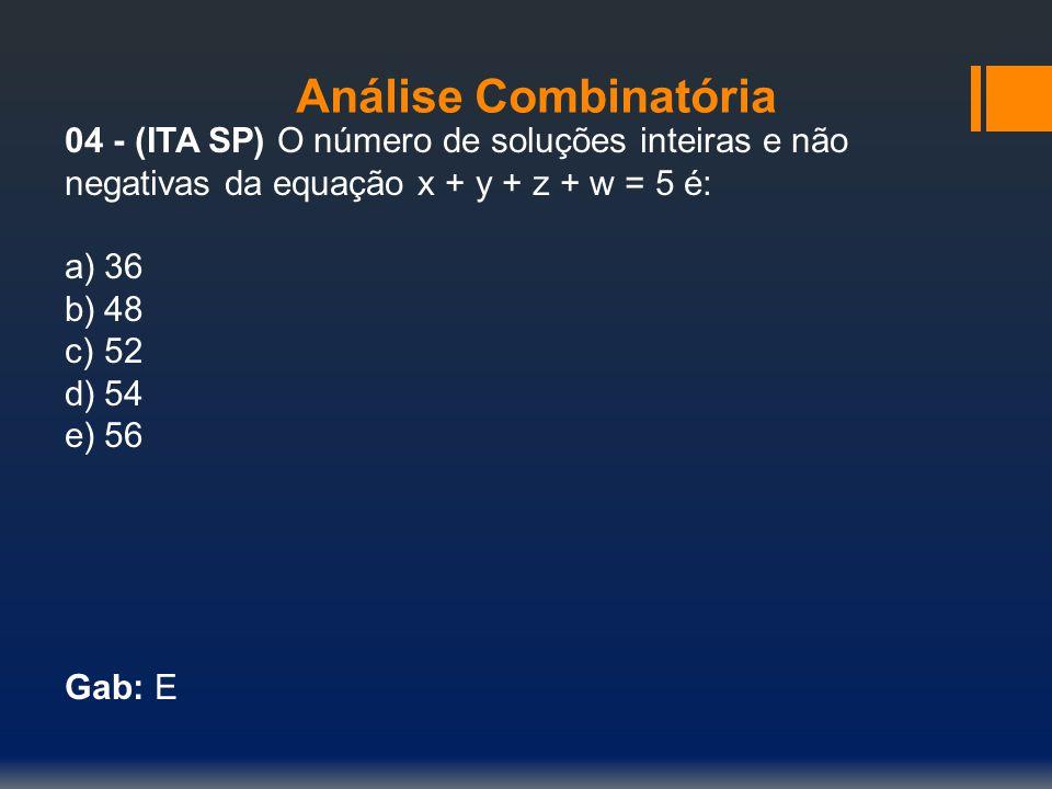 Análise Combinatória 04 - (ITA SP) O número de soluções inteiras e não