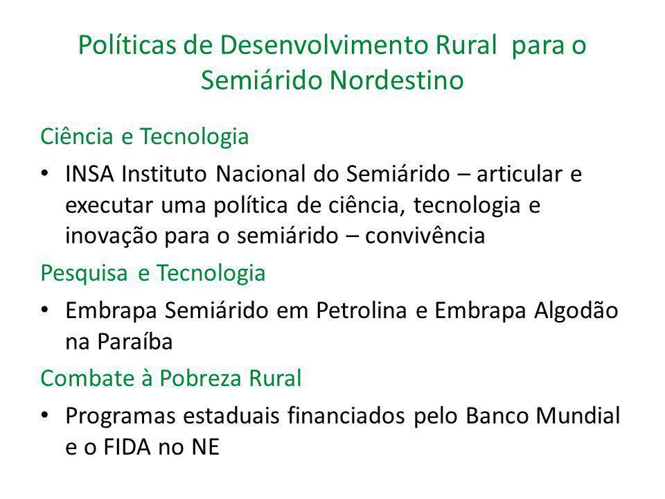 Políticas de Desenvolvimento Rural para o Semiárido Nordestino