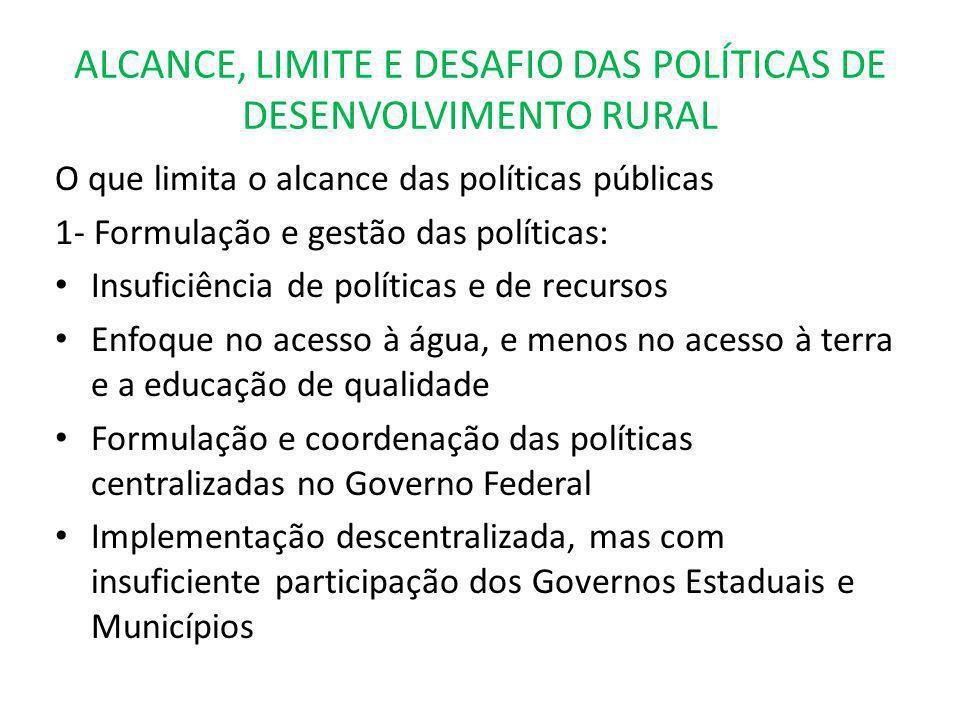 ALCANCE, LIMITE E DESAFIO DAS POLÍTICAS DE DESENVOLVIMENTO RURAL