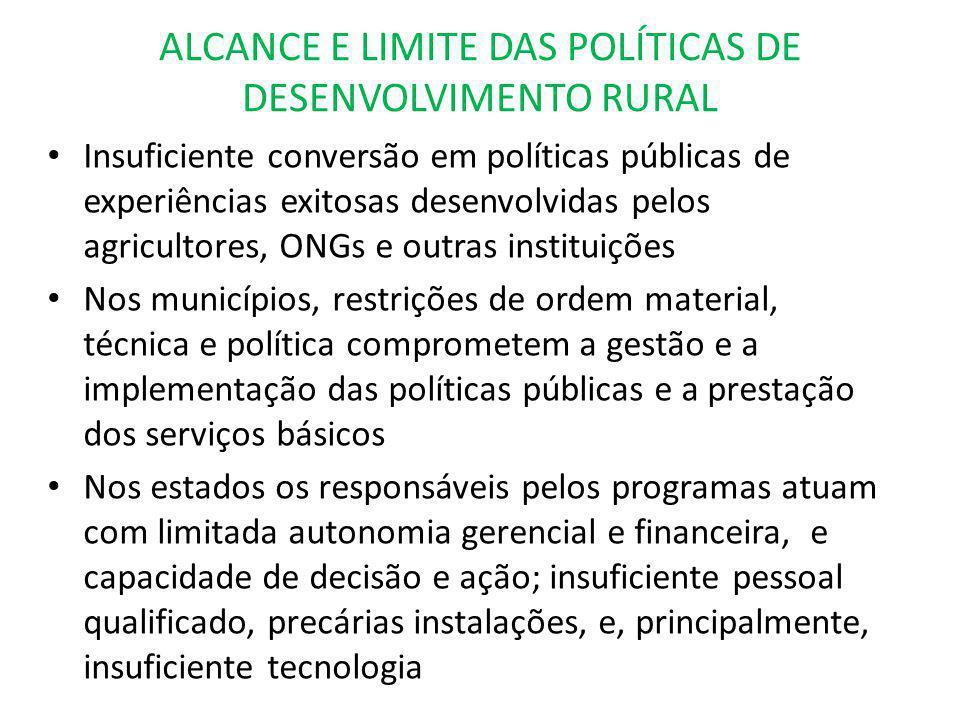 ALCANCE E LIMITE DAS POLÍTICAS DE DESENVOLVIMENTO RURAL