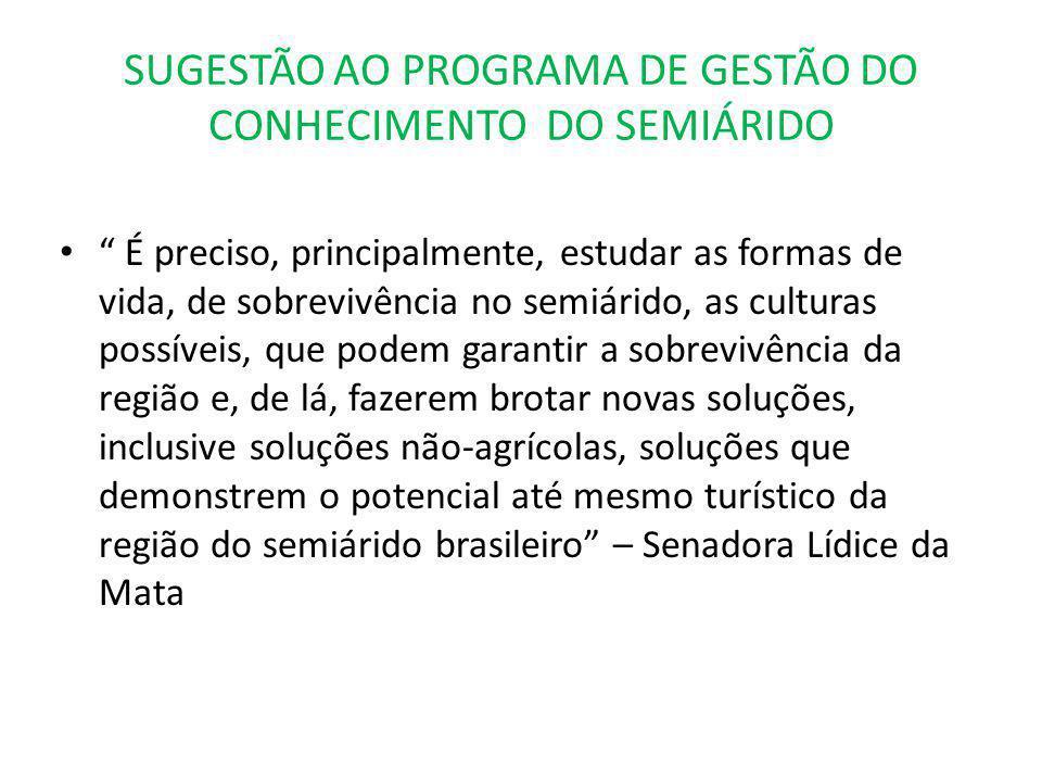 SUGESTÃO AO PROGRAMA DE GESTÃO DO CONHECIMENTO DO SEMIÁRIDO