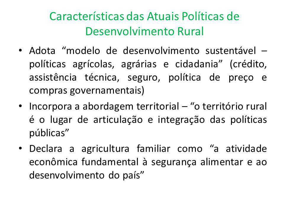 Características das Atuais Políticas de Desenvolvimento Rural