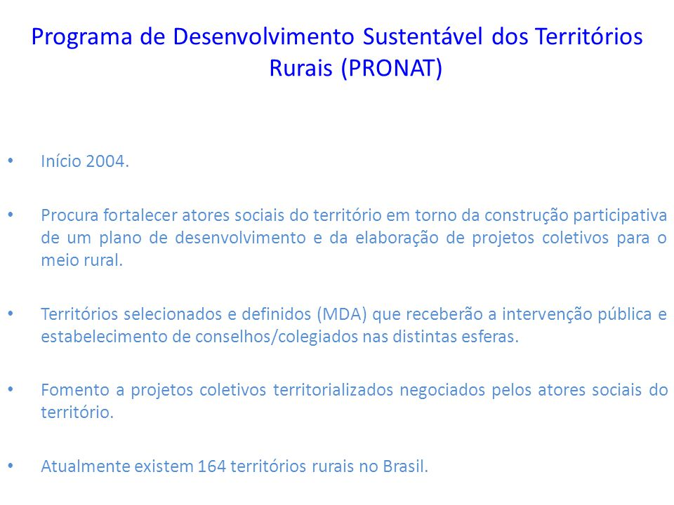 Programa de Desenvolvimento Sustentável dos Territórios Rurais (PRONAT)
