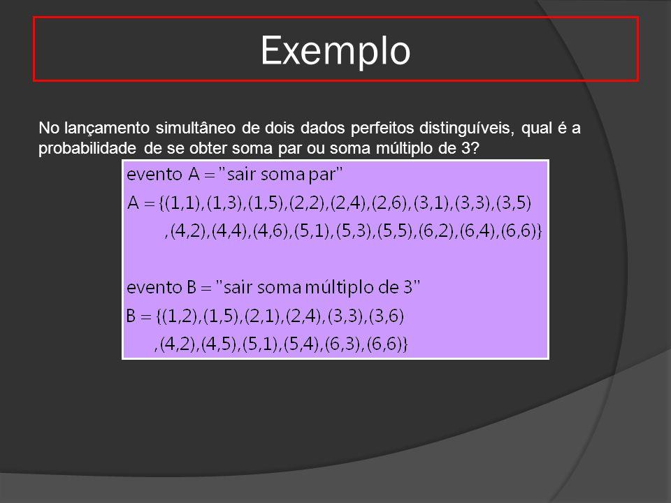 Exemplo No lançamento simultâneo de dois dados perfeitos distinguíveis, qual é a probabilidade de se obter soma par ou soma múltiplo de 3