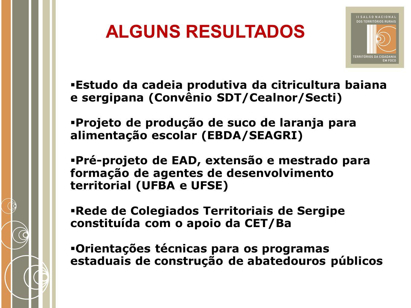 ALGUNS RESULTADOS Estudo da cadeia produtiva da citricultura baiana e sergipana (Convênio SDT/Cealnor/Secti)