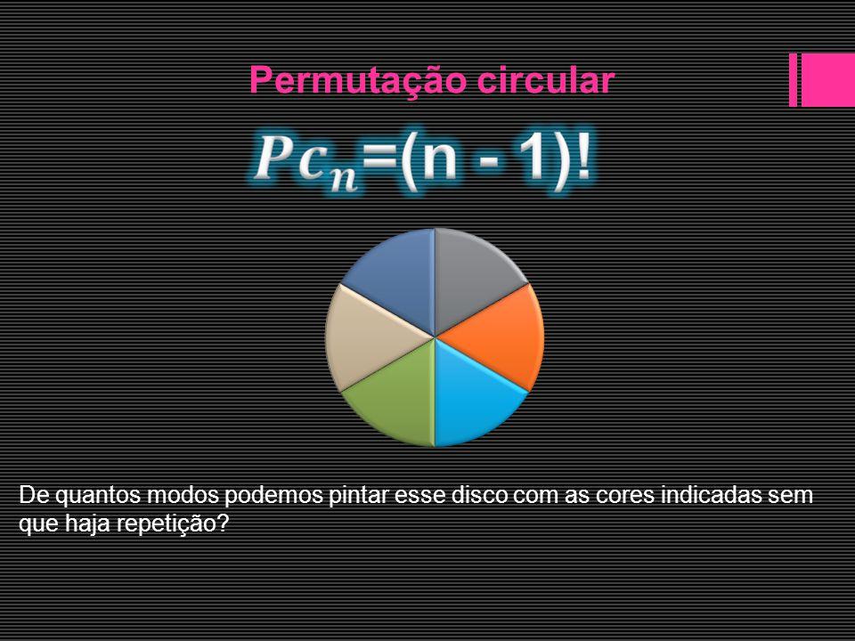 Permutação circular De quantos modos podemos pintar esse disco com as cores indicadas sem que haja repetição