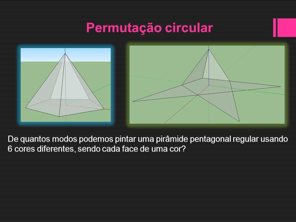 Permutação circular De quantos modos podemos pintar uma pirâmide pentagonal regular usando.