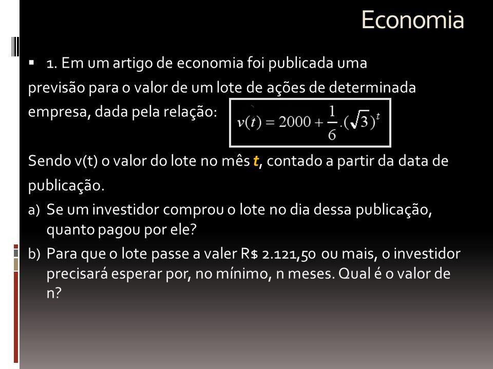 Economia 1. Em um artigo de economia foi publicada uma
