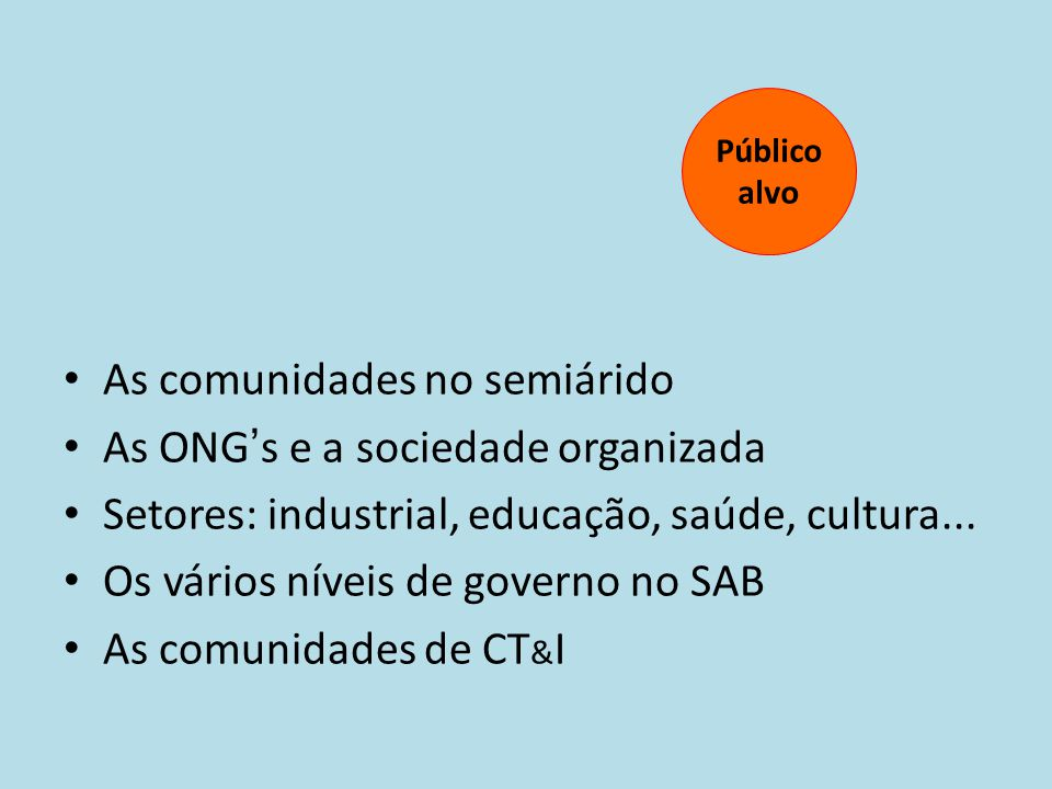 As comunidades no semiárido As ONG's e a sociedade organizada