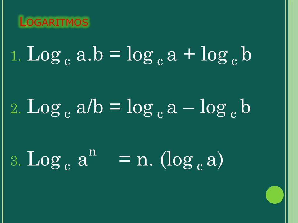 Log c a.b = log c a + log c b Log c a/b = log c a – log c b