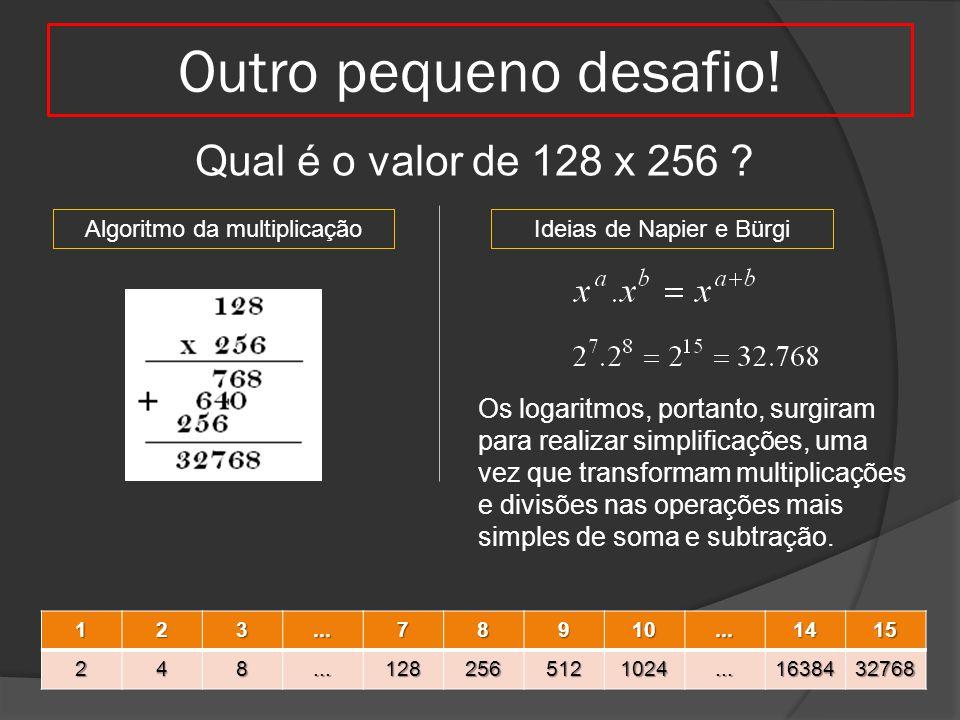 Outro pequeno desafio! Qual é o valor de 128 x 256