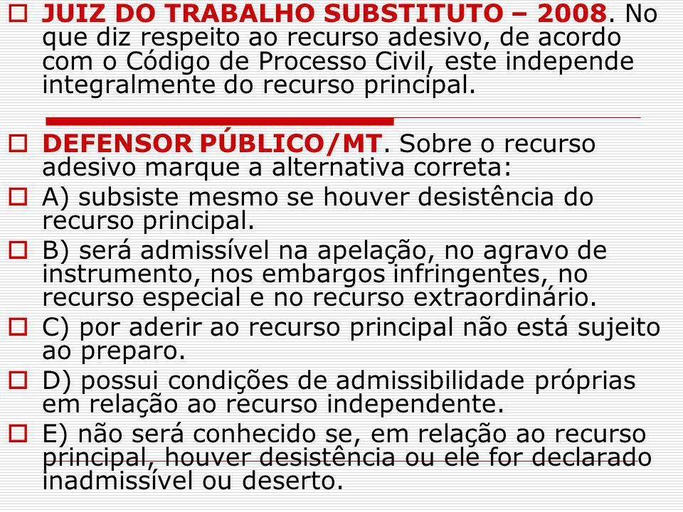 JUIZ DO TRABALHO SUBSTITUTO – 2008