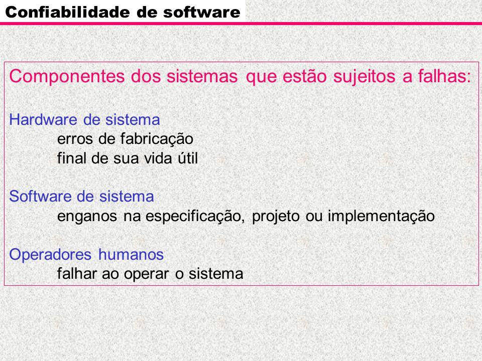 Componentes dos sistemas que estão sujeitos a falhas: