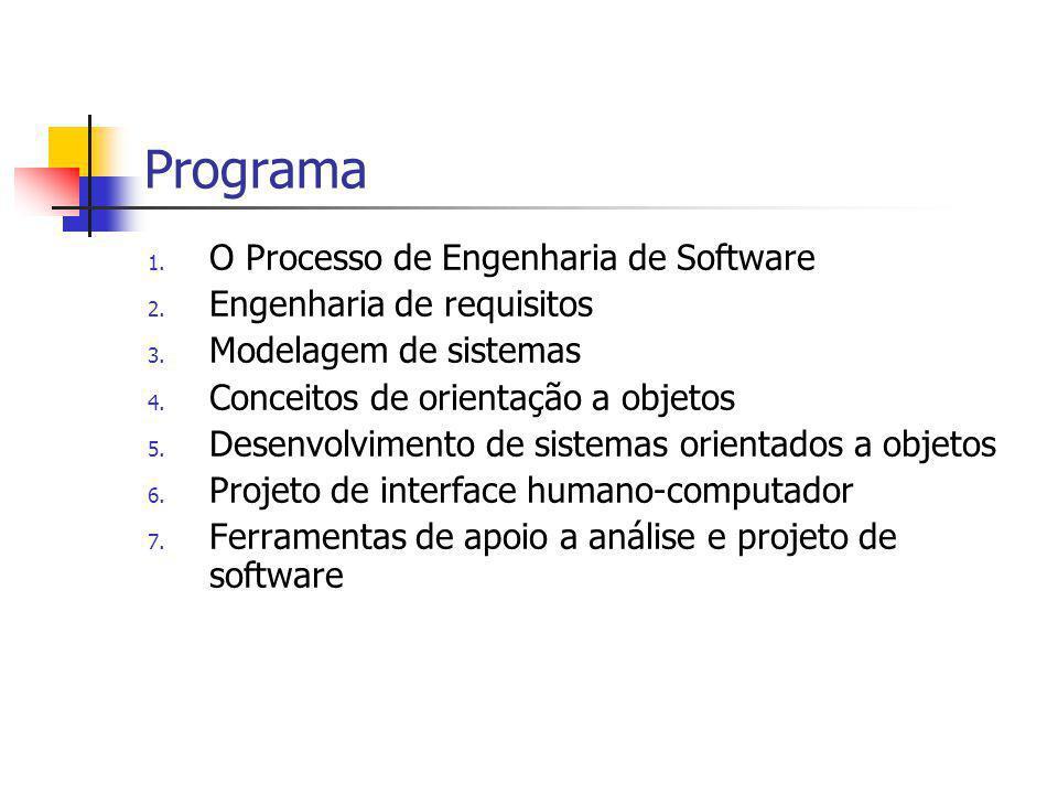 Programa O Processo de Engenharia de Software Engenharia de requisitos