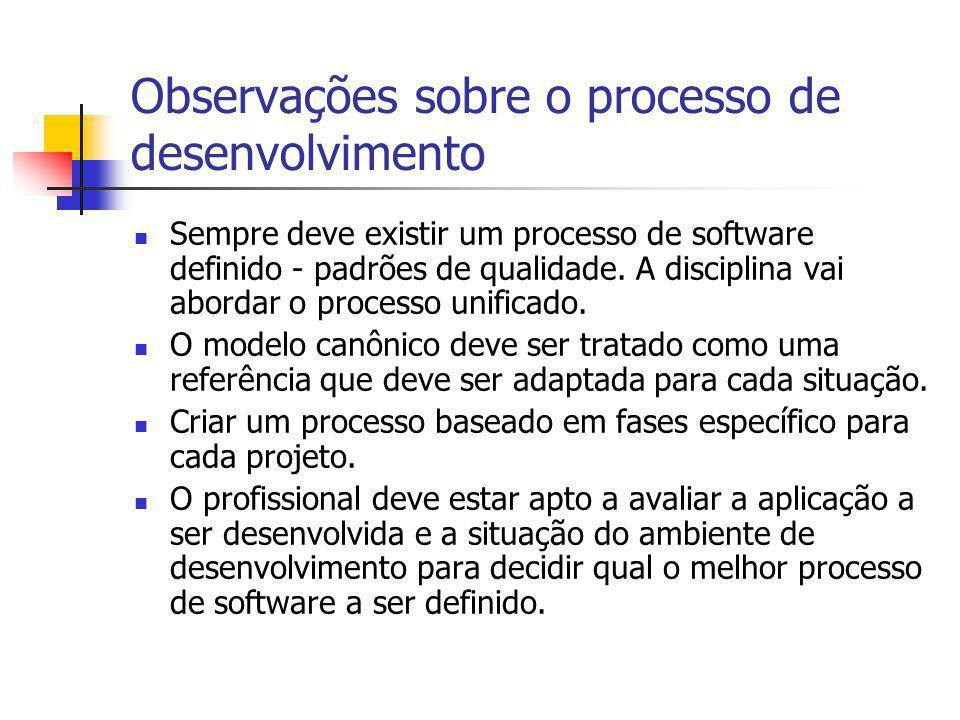 Observações sobre o processo de desenvolvimento