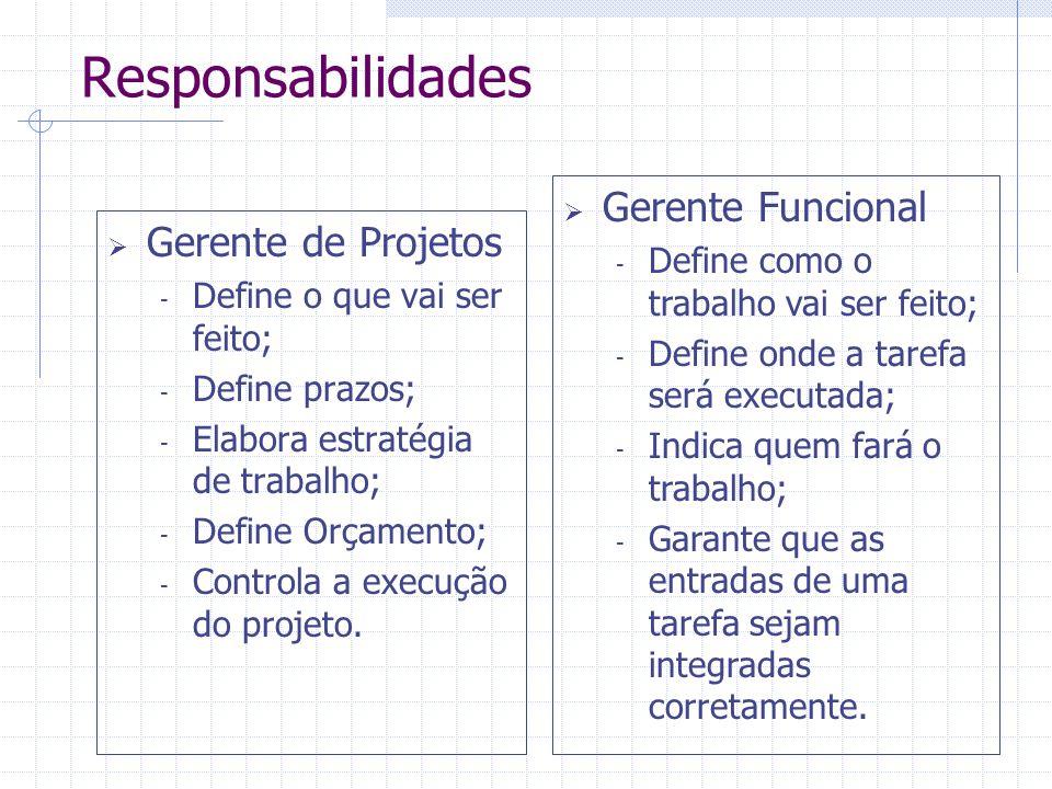 Responsabilidades Gerente Funcional Gerente de Projetos