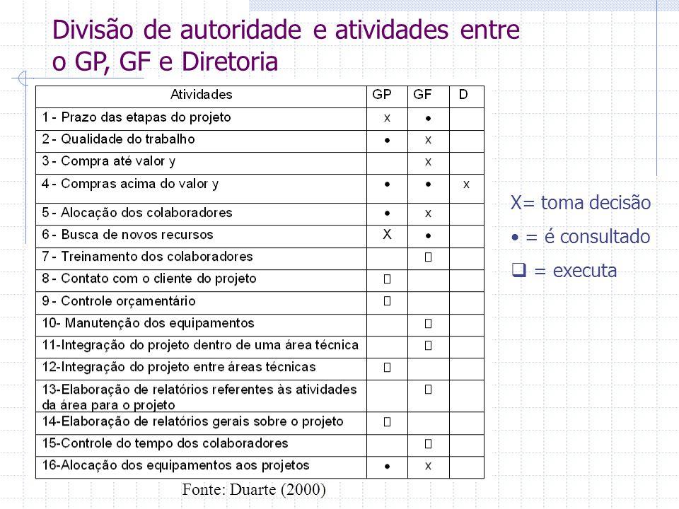 Divisão de autoridade e atividades entre o GP, GF e Diretoria