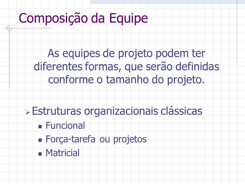 Composição da Equipe As equipes de projeto podem ter diferentes formas, que serão definidas conforme o tamanho do projeto.