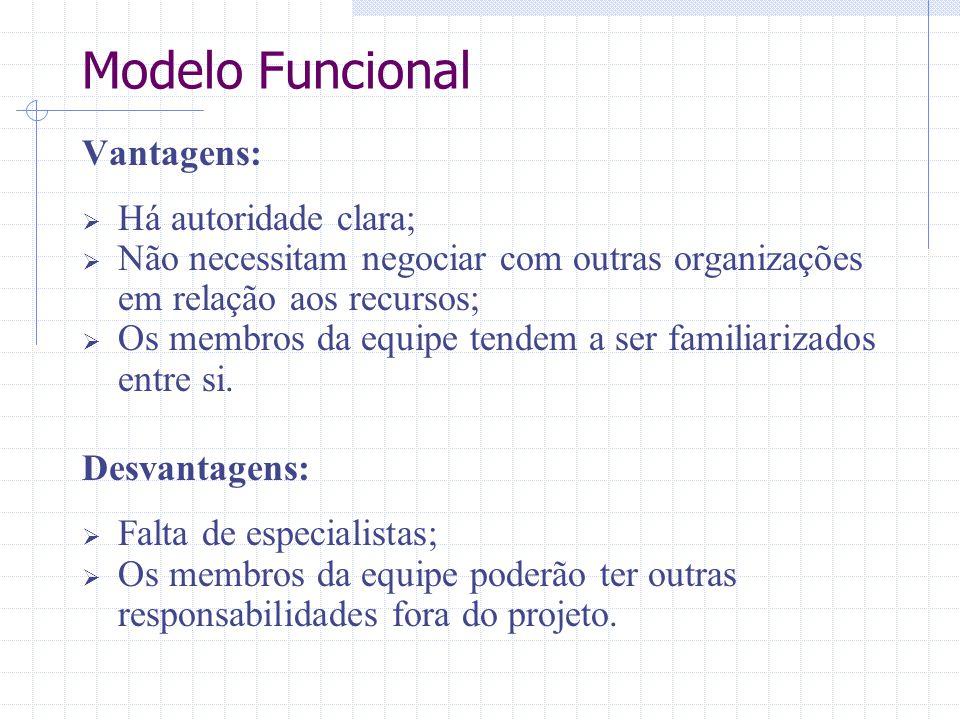 Modelo Funcional Vantagens: Há autoridade clara;